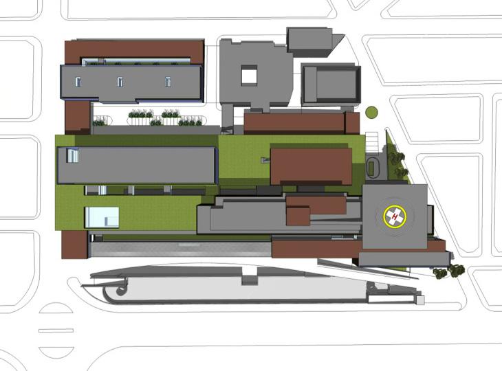 FASE 8: Construcción de cubierta sobre bloque de hospitalización, helipuerto y aparcamiento subterráneo